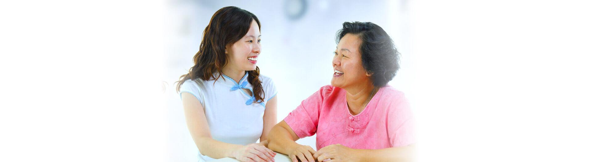 Senior with her caregiver