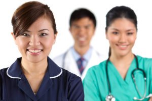 Asian healthcare workers.